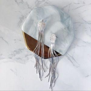 Sexy look Diamond Tassel Earrings in Silver